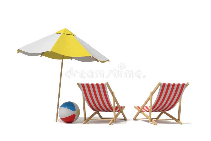 rendu 3d d'un parapluie de plage blanc et jaune se tenant au-dessus de deux chaises de plate-forme illustration libre de droits