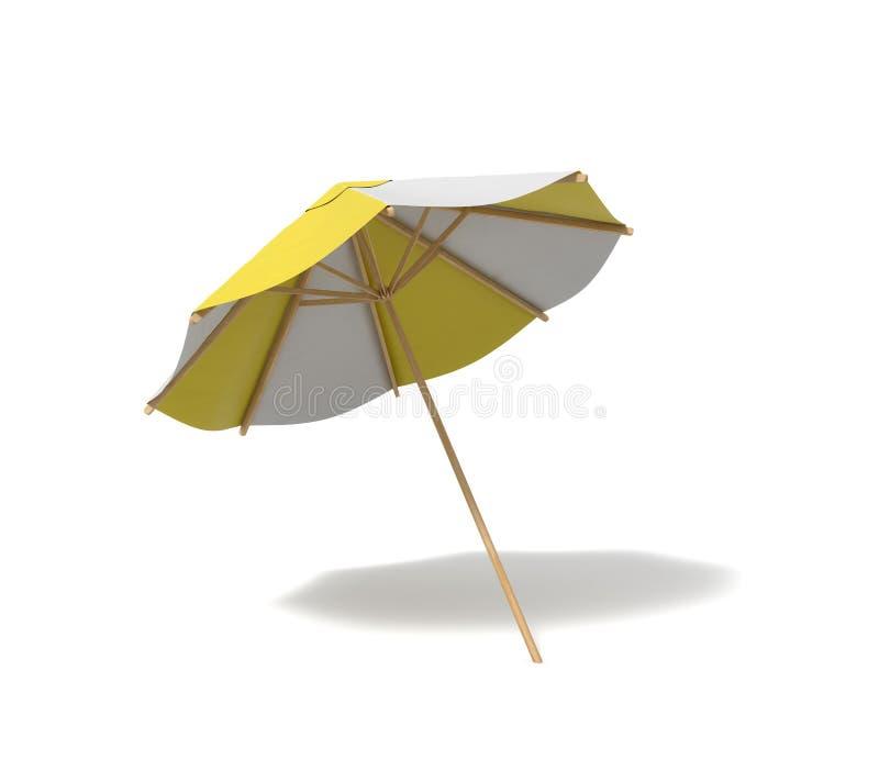 rendu 3d d'un parapluie de plage d'isolement avec les rayures blanches et jaunes sur le fond blanc illustration de vecteur