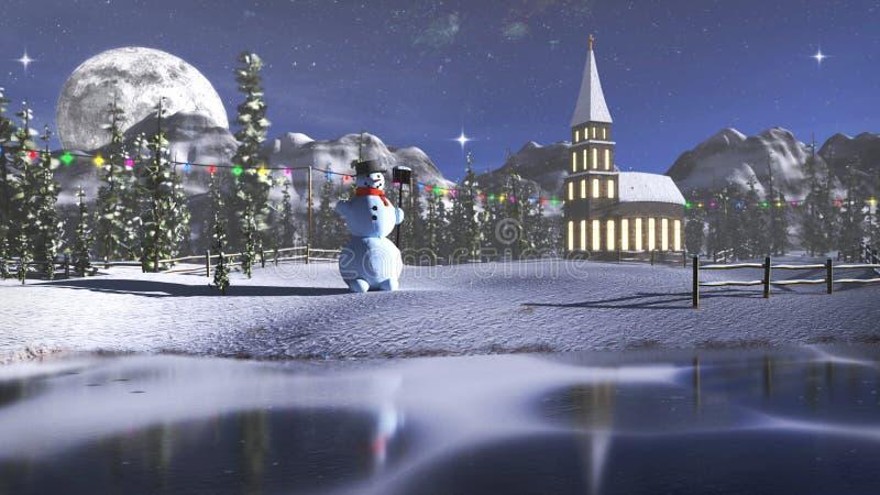 rendu 3D d'un paysage d'hiver avec peu d'église et bonhomme de neige image stock