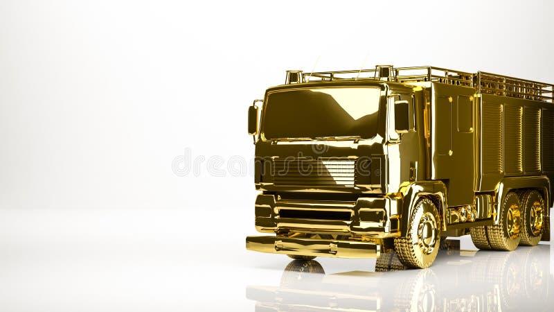 rendu 3d d'or d'un pompier à l'intérieur d'un studio illustration libre de droits