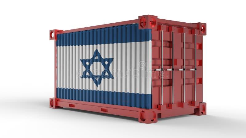 rendu 3d d'un récipient de cargaison d'expédition avec le drapeau de l'Israël illustration stock