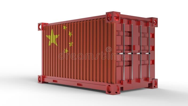 rendu 3d d'un récipient de cargaison d'expédition avec le drapeau de la Chine illustration de vecteur