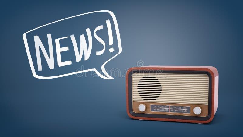 rendu 3d d'un rétro poste radio brun sur un fond bleu avec une bulle dessinée par craie de la parole tenant des actualités de mot illustration de vecteur