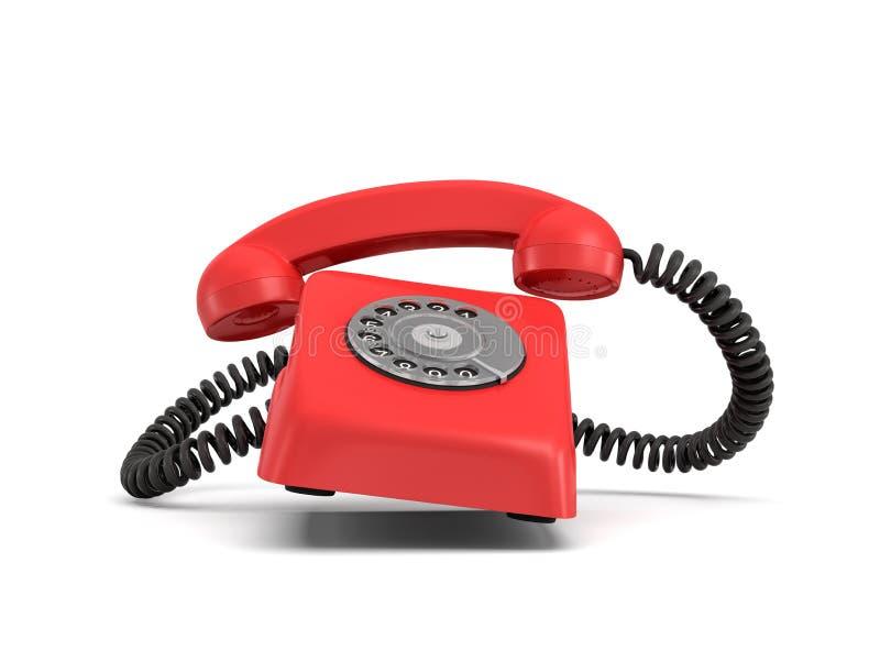 rendu 3d d'un rétro téléphone rouge avec un cadran rotatoire rond que les anneaux avec le téléphone lui-même et la poignée ont so illustration de vecteur