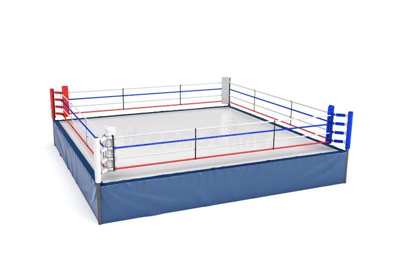 rendu 3d d'un ring vide dans la vue de côté à son coin d'isolement sur le fond blanc illustration de vecteur