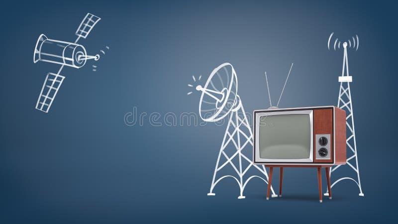 rendu 3d d'un satellite de l'espace dessiné par craie et des tours de satellite près d'un grand rétro poste TV sur des jambes illustration de vecteur