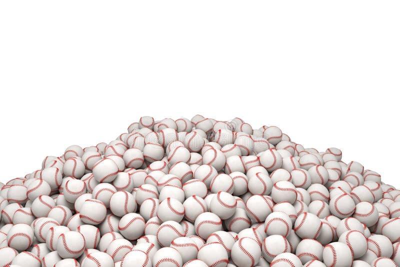 rendu 3d d'un tas énorme des base-ball blancs avec piquer rouge sur un fond blanc illustration libre de droits