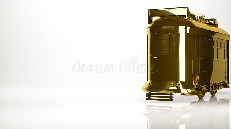 rendu 3d d'or d'un tram de ville à l'intérieur d'un studio illustration libre de droits