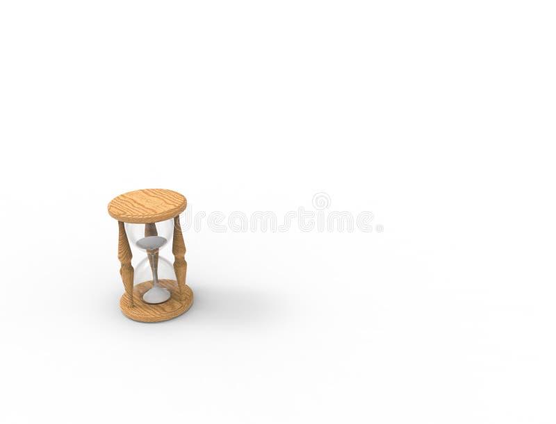 rendu 3D d'un verre d'heure d'isolement sur le bacgkround blanc illustration stock