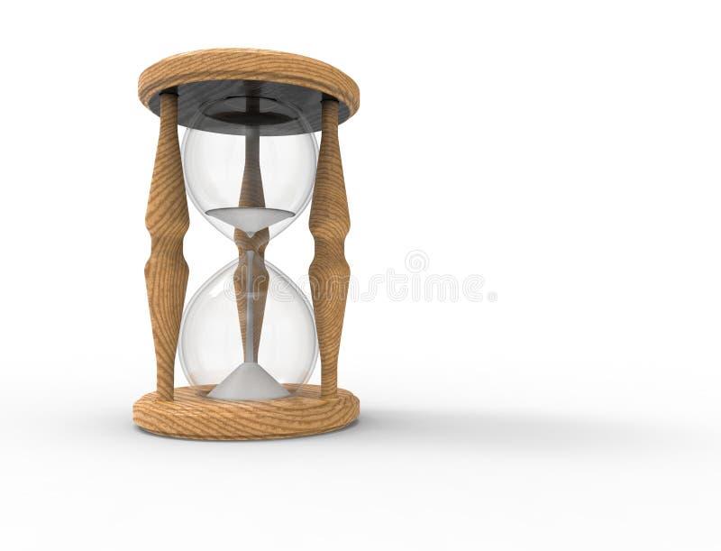 rendu 3D d'un verre d'heure d'isolement sur le bacgkround blanc illustration libre de droits