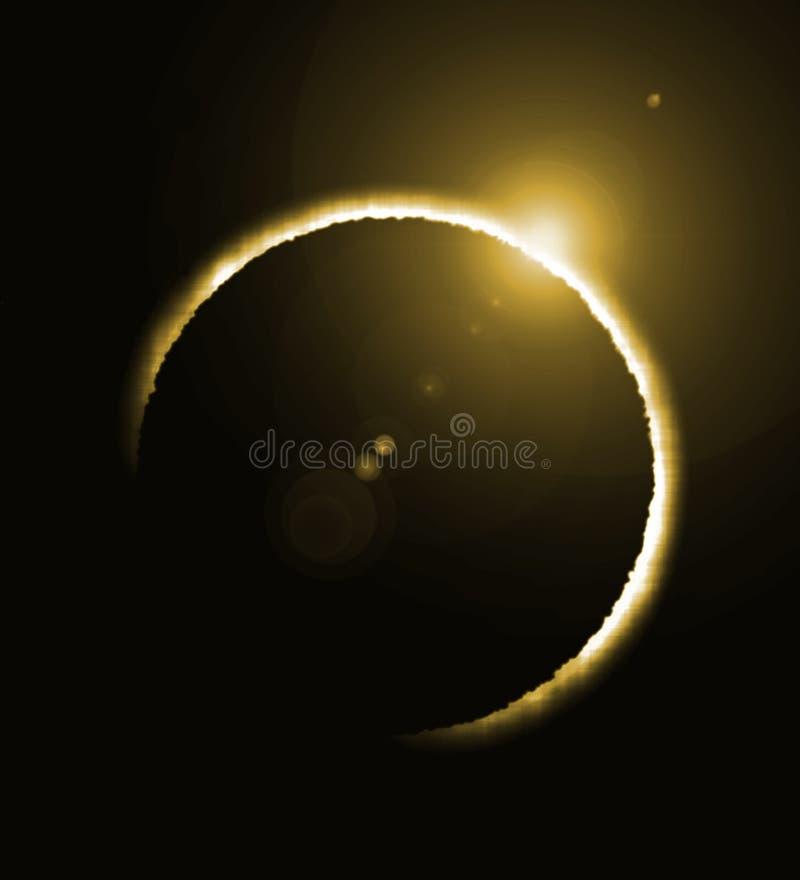 Rendu d'une éclipse solaire et d'une grande fusée image stock