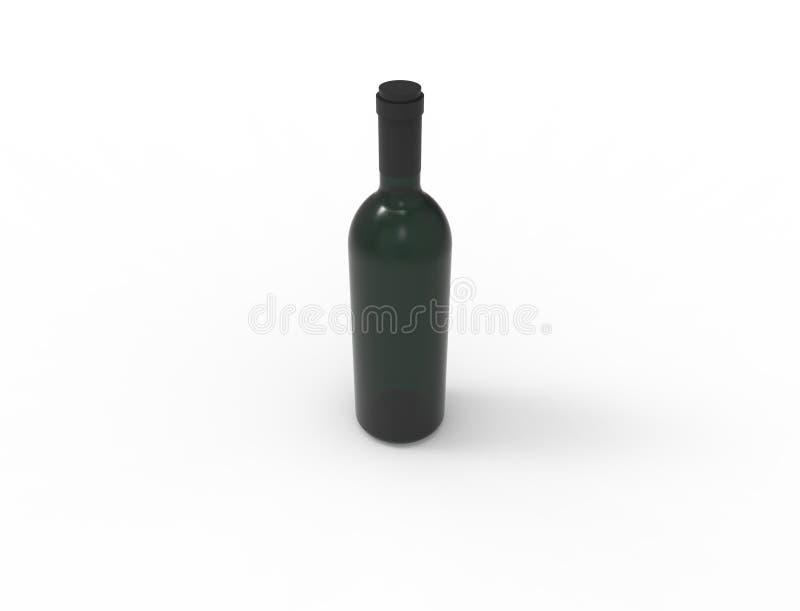 rendu 3d d'une bouteille de vin verte d'isolement à l'arrière-plan blanc de studio illustration libre de droits