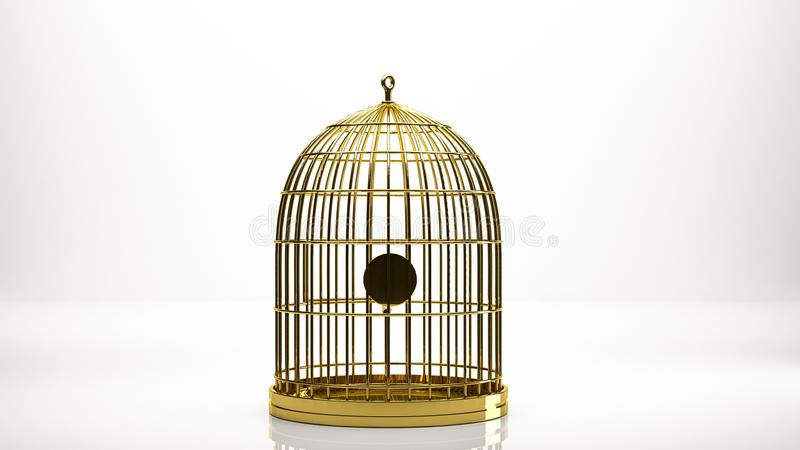 rendu 3d d'or d'une cage à l'intérieur d'un studio illustration stock