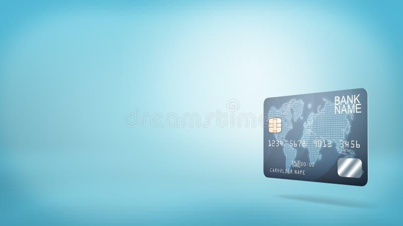 rendu 3d d'une carte d'opérations bancaires en plastique bleue simple avec l'information de nom générique sur un fond bleu illustration de vecteur