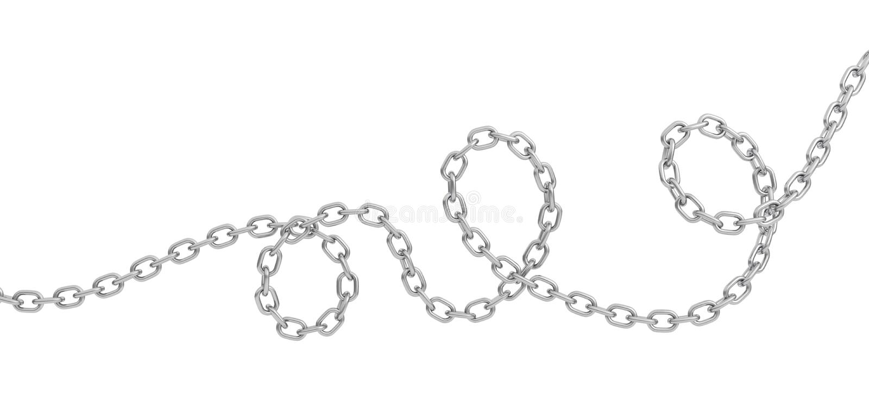 rendu 3d d'une chaîne en acier polie incurvée simple se trouvant sur un fond blanc illustration stock