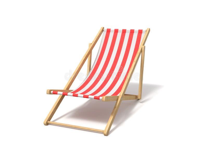 rendu 3d d'une chaise longue rouge blanche d'isolement sur un fond blanc illustration libre de droits