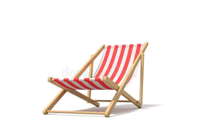 rendu 3d d'une chaise longue rouge blanche sur un fond blanc illustration stock
