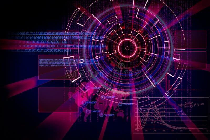 Rendu d'une cible futuriste de fond de cyber avec le lig de laser illustration de vecteur