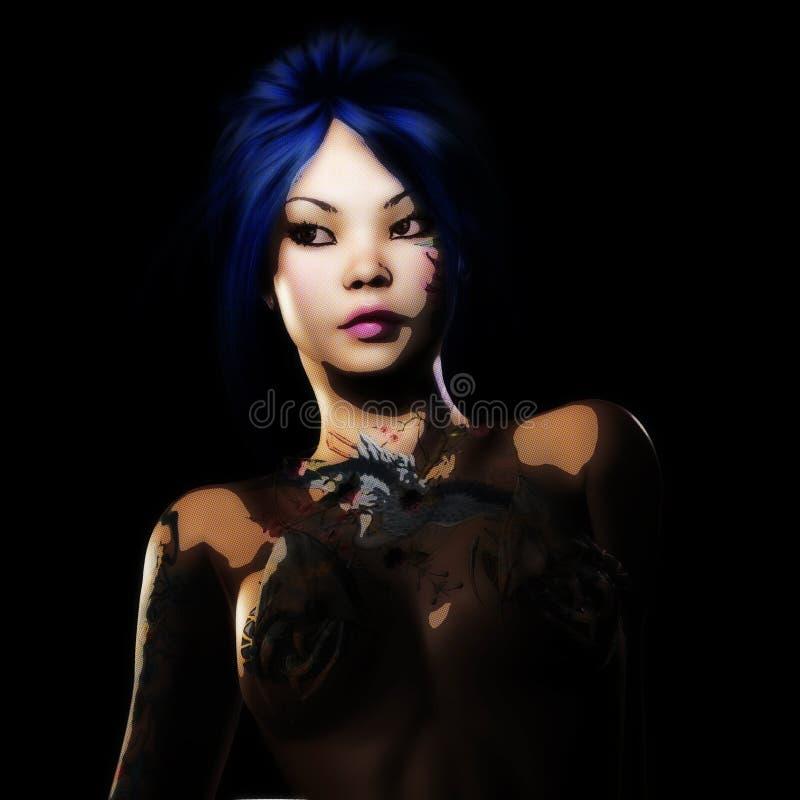 rendu 3D d'une femme d'imagination illustration de vecteur