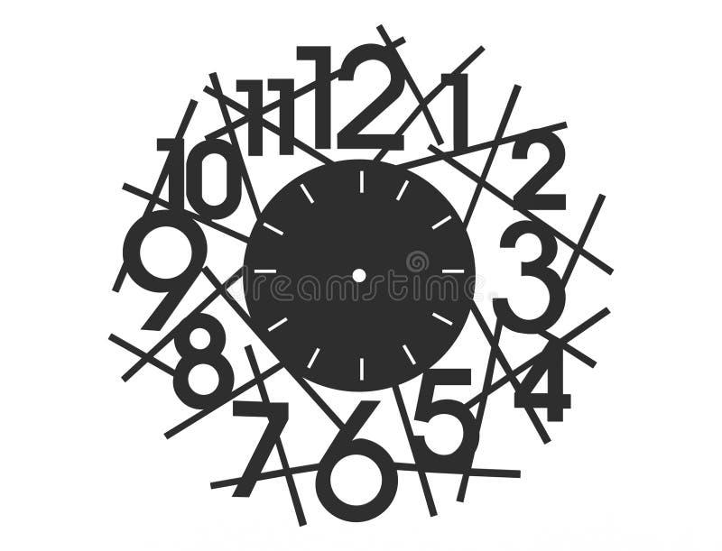 rendu 3d d'une horloge de conception d'isolement sur le fond blanc illustration stock