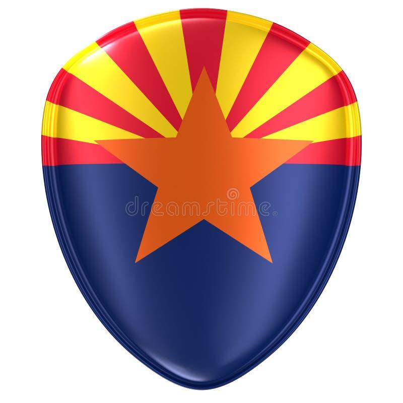 rendu 3d d'une icône de drapeau d'état de l'Arizona Etats-Unis illustration de vecteur