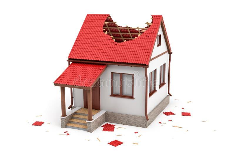 rendu 3d d'une maison isolée avec un perron et un grand trou dans le toit illustration libre de droits