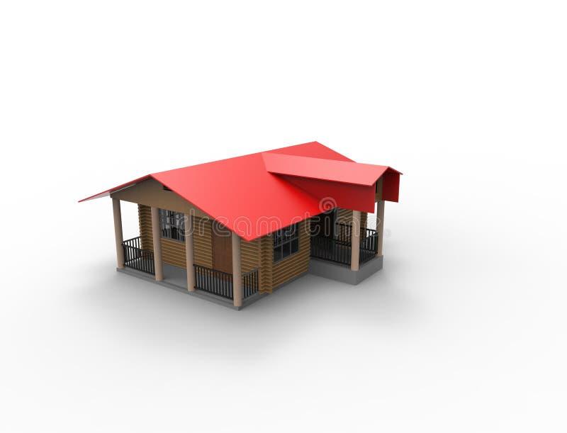 rendu 3d d'une petite maison de cabine d'isolement à l'arrière-plan blanc illustration de vecteur
