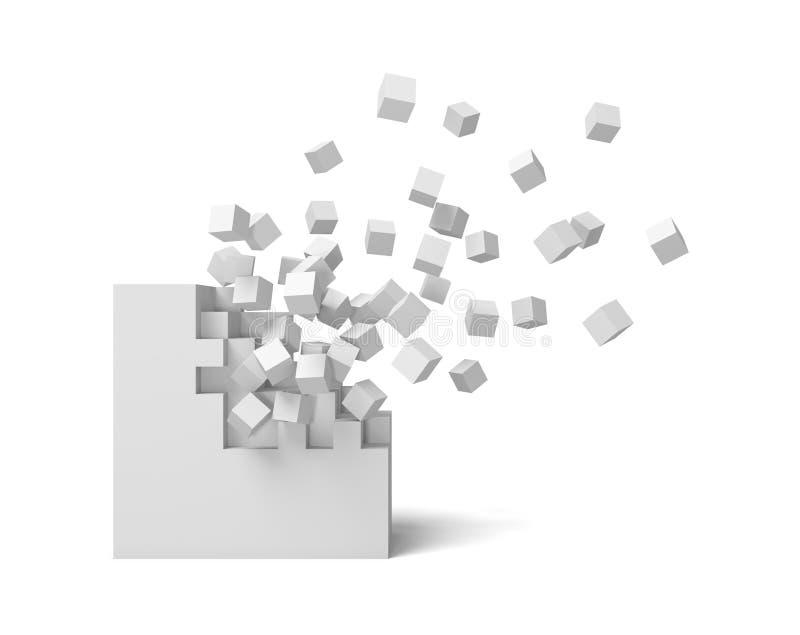 rendu 3d d'une place blanche sur un fond blanc commençant à obtenir détruit pièce par pièce illustration stock