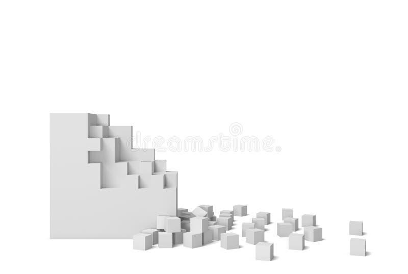rendu 3d d'une place blanche sur un fond blanc commençant à obtenir détruit pièce par pièce illustration libre de droits