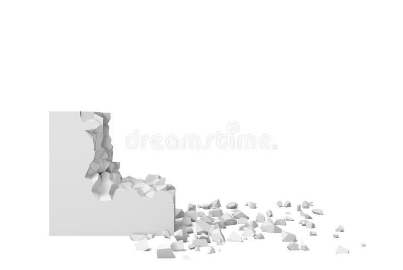 rendu 3d d'une place blanche sur un fond blanc commençant à obtenir détruit pièce par pièce illustration de vecteur