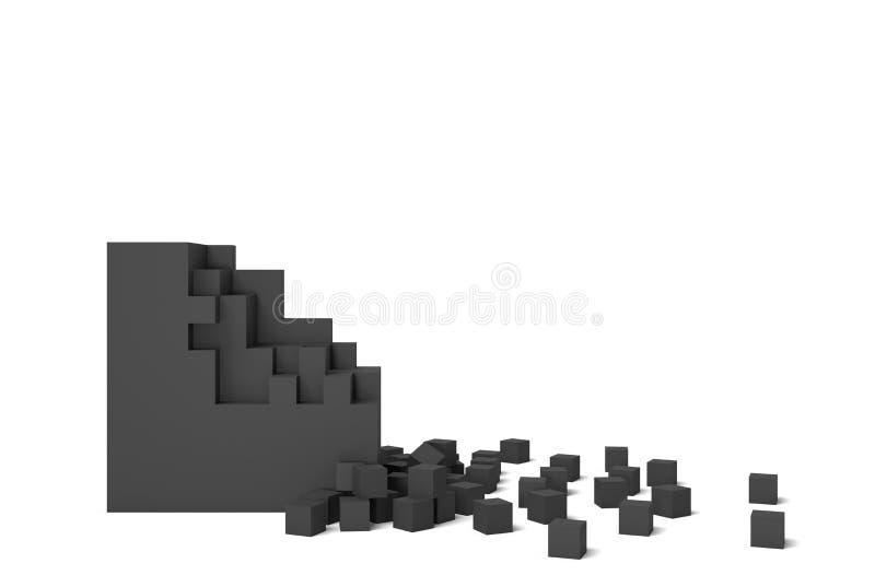 rendu 3d d'une place noire sur un fond blanc commençant à obtenir détruit pièce par pièce illustration libre de droits
