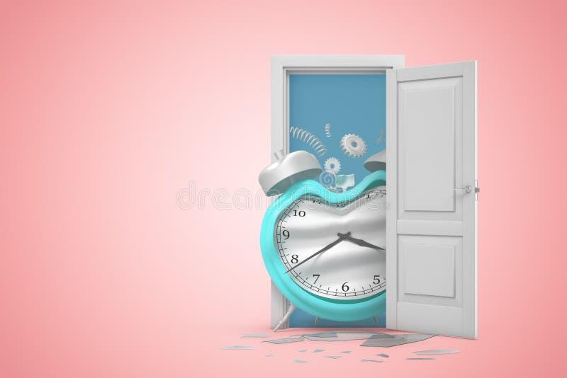 rendu 3d d'une porte ouverte blanche avec le réveil endommagé cassé de bleu sur le fond rose-clair illustration libre de droits