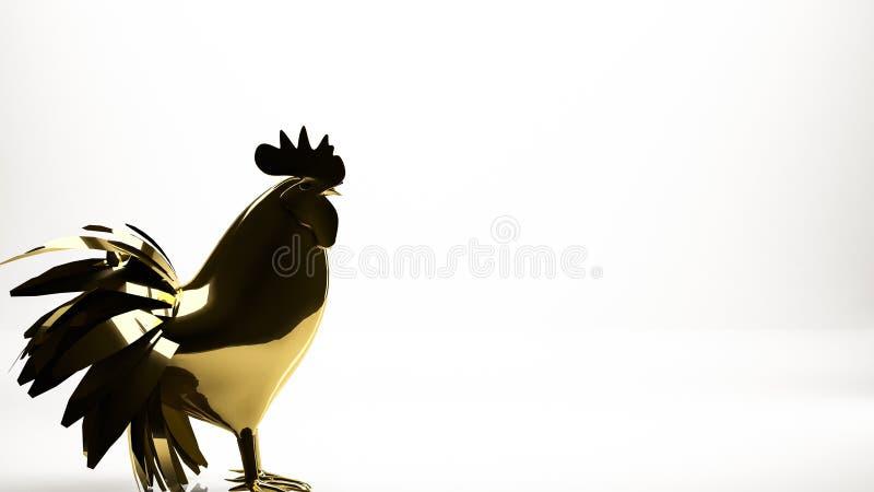 rendu 3d d'or d'une poule à l'intérieur d'un studio illustration stock
