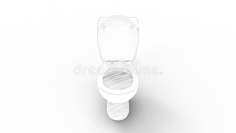 rendu 3d d'une toilette d'isolement à l'arrière-plan blanc de studio illustration libre de droits
