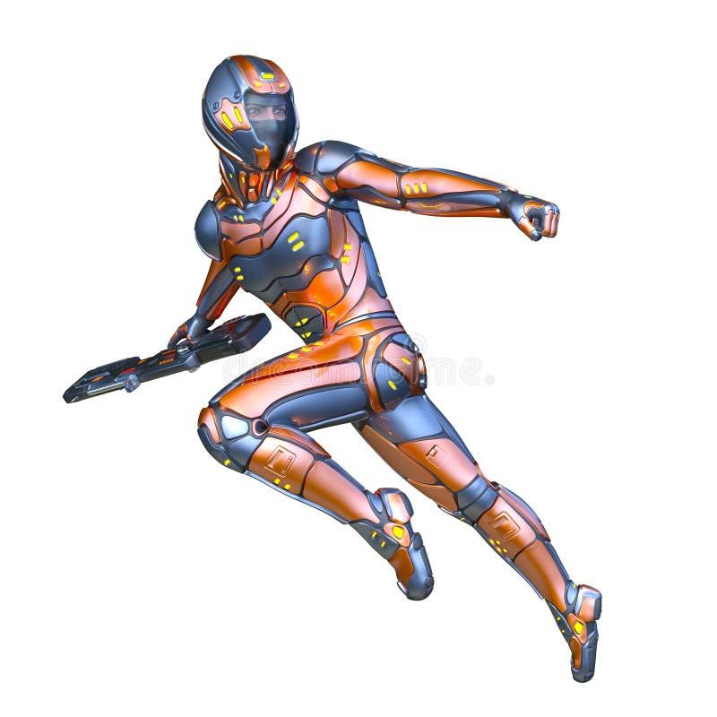 rendu de 3D CG. d'homme de cyber illustration libre de droits