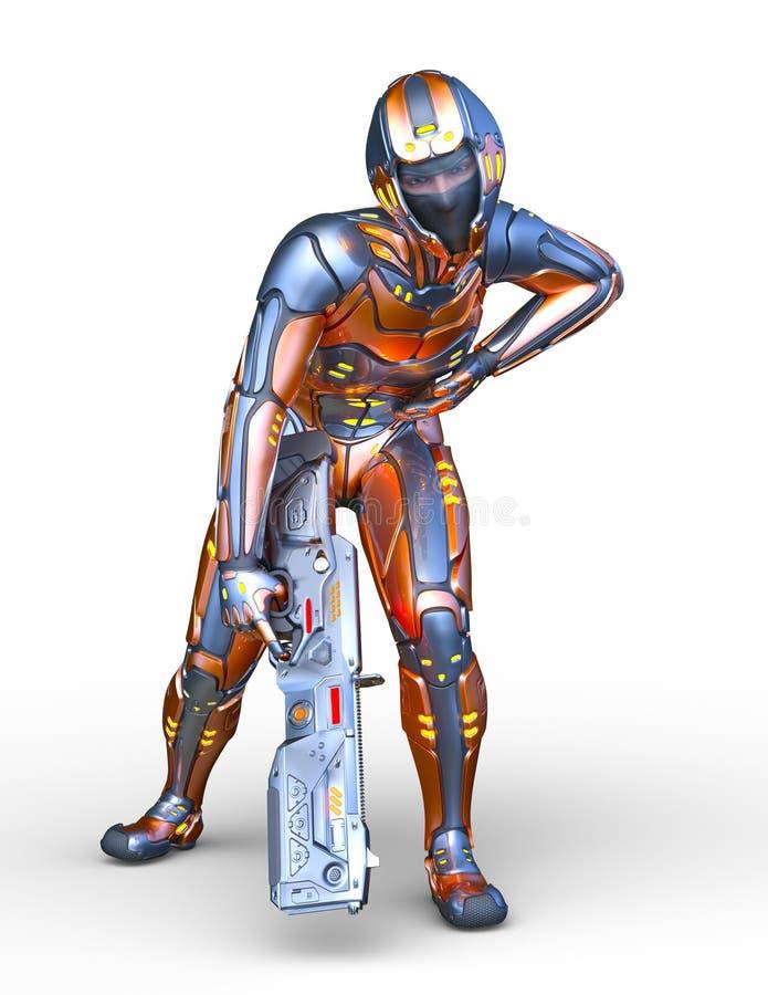 rendu de 3D CG. d'homme de cyber illustration de vecteur