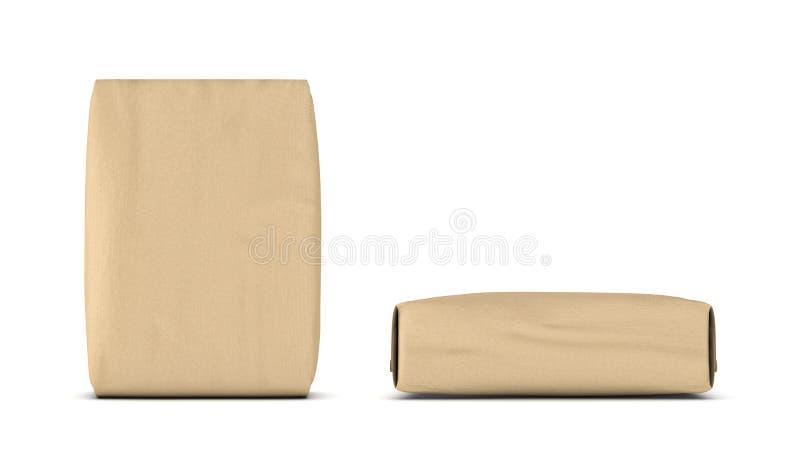 Rendu de deux vues de face beiges légères de sacs à ciment, latérales et, d'isolement sur le fond blanc illustration de vecteur