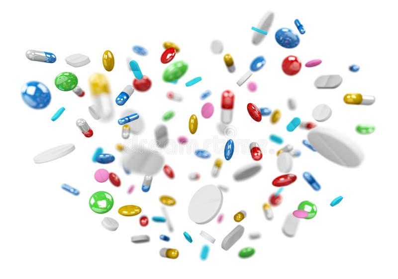 Rendu de flottement de pilules et de drogues 3D de médecine illustration stock