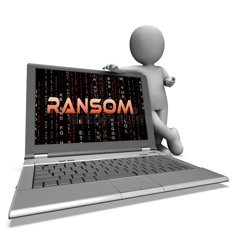 Rendu de l'extorsion 3d de données d'intru de rançon illustration stock