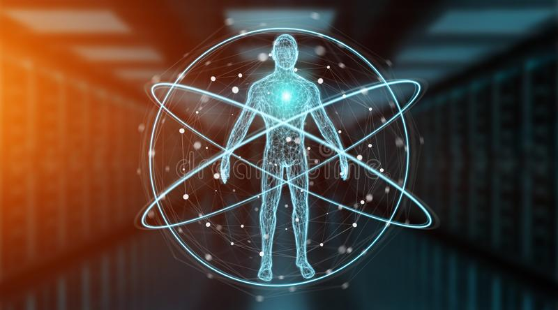 Rendu de l'interface 3D de fond de balayage de corps humain de rayon X de Digital illustration libre de droits