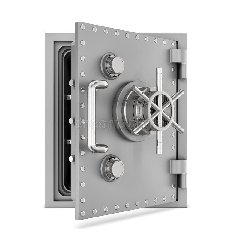 Rendu de la boîte sûre en acier avec la porte ouverte, d'isolement sur le fond blanc illustration libre de droits