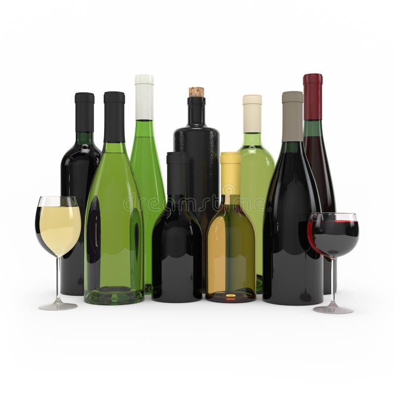 Rendu de la bouteille de vin 3d illustration stock