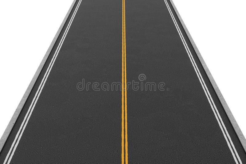 Rendu de la route bi-directionnelle vide couverte d'asphalte allant directement, d'isolement sur le fond blanc illustration de vecteur