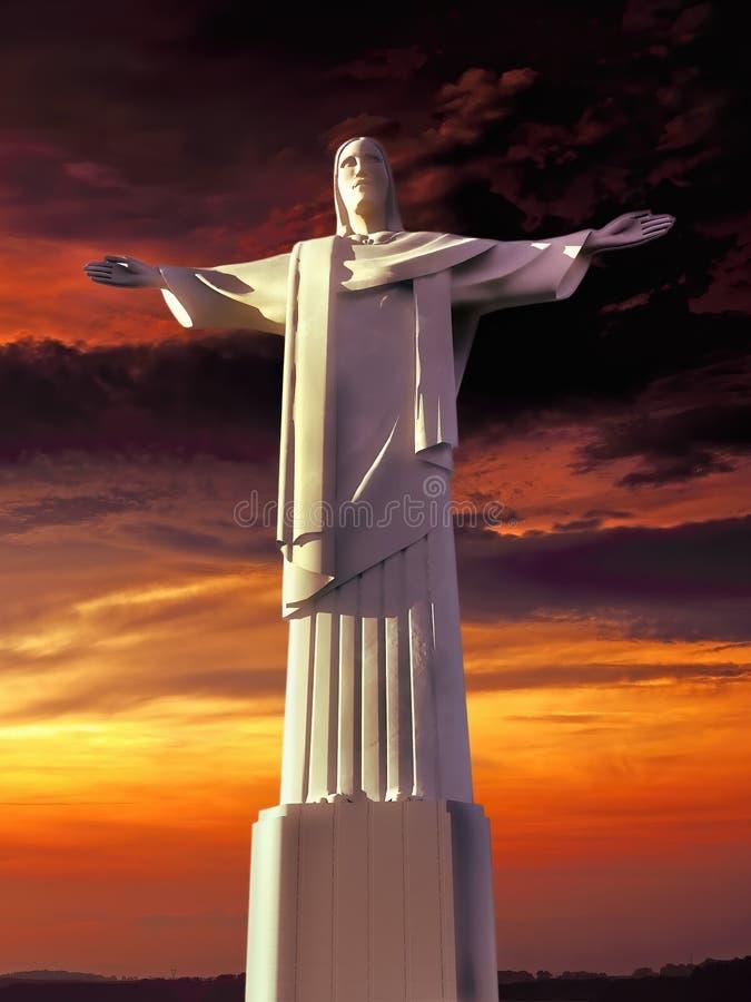 Rendu de négligence de la baie 3d de monument de Jesus Christ illustration libre de droits