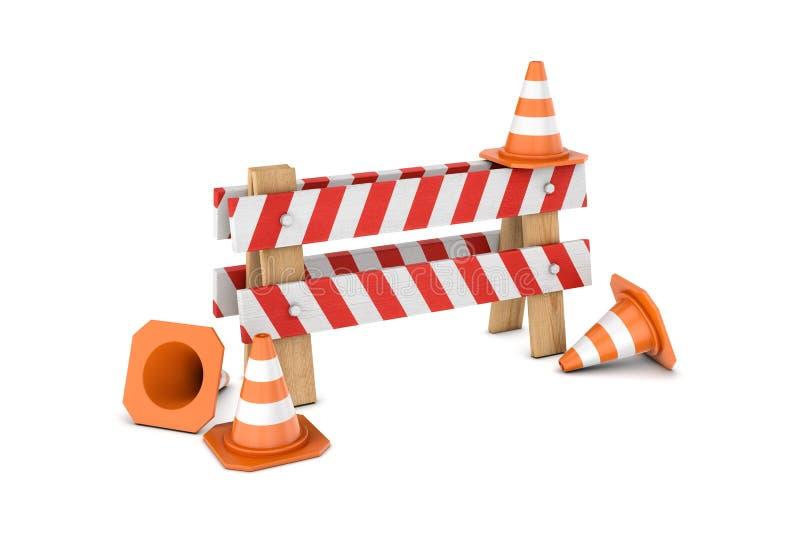 Rendu des cônes du trafic et et de x27 ; en construction et x27 ; barrière d'isolement sur le fond blanc illustration stock