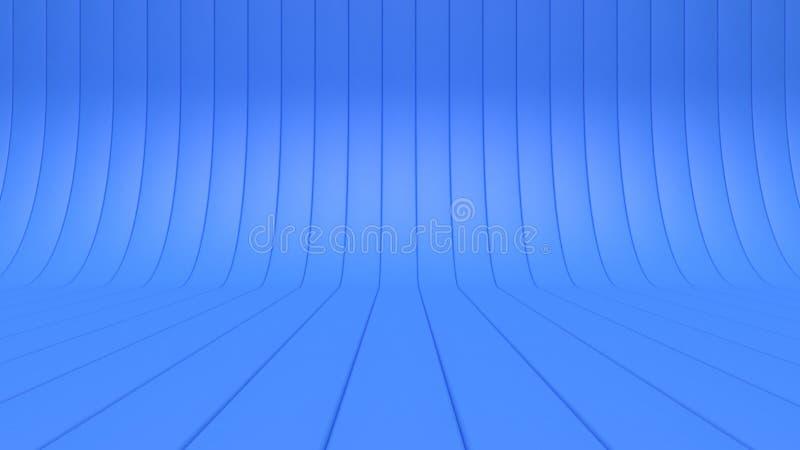 rendu du concept 3d de ligne-studio de courbe d'au sol de plancher-mur du fond 3d illustration libre de droits