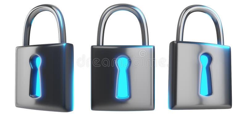 Rendu du concept 3d de technologie de Cybersecurity d'un ensemble de je illustration de vecteur