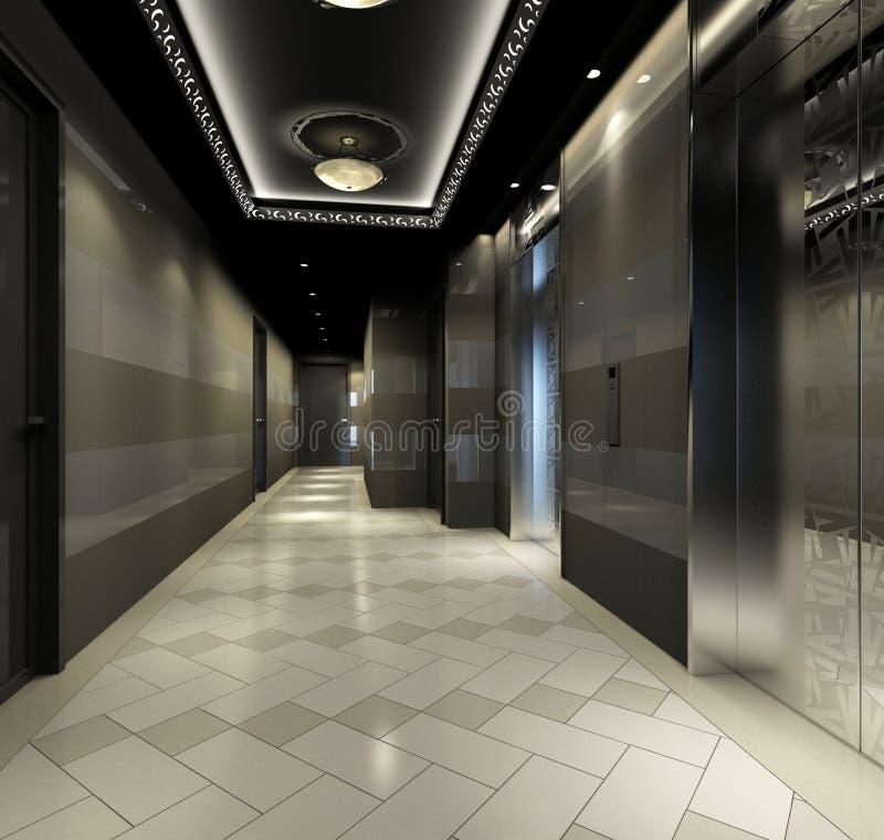 Rendu du couloir moderne illustration de vecteur