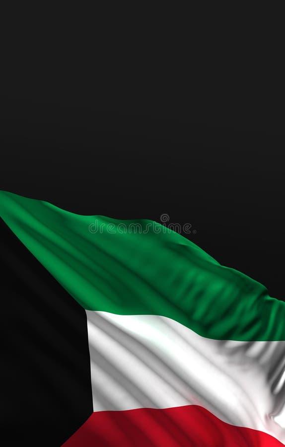 Rendu du drapeau 3D du Kowéit 3D illustration stock