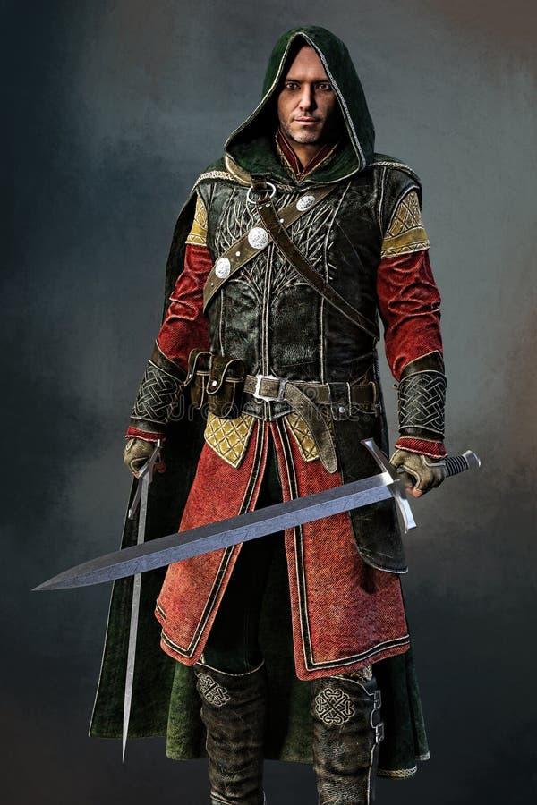 Rendu du guerrier avec deux épées illustration libre de droits